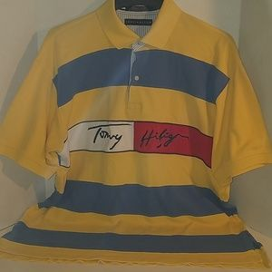 Tommy Hilfiger Colorblock Spellout Polo Shirt XL